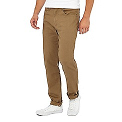Racing Green - Tan herringbone straight fit trousers