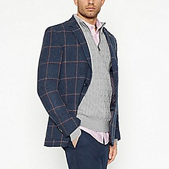 Racing Green - Big and tall navy windowpane checked wool blend blazer
