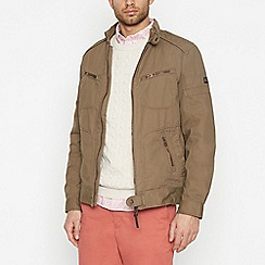 Racing Green - Big and tall tan biker jacket