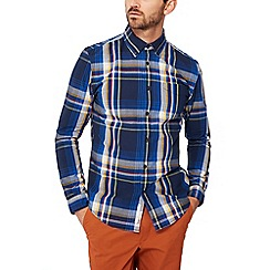 Racing Green - Navy check print long sleeves tailored fit shirt