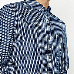 Racing Green - Navy Dash Long Sleeve Tailored Fit Shirt