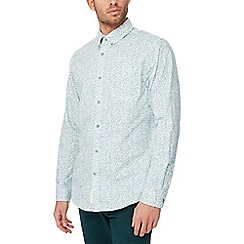 Racing Green - Big and tall green floral long sleeve tailored fit shirt