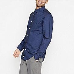 Racing Green - Navy Long Sleeve Regular Fit Oxford Shirt