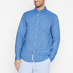 Racing Green - Mid Blue Long Sleeve Regular Fit Oxford Shirt