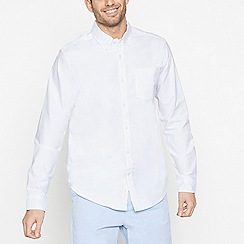 Racing Green - Big and Tall White Long Sleeve Regular Fit Oxford Shirt