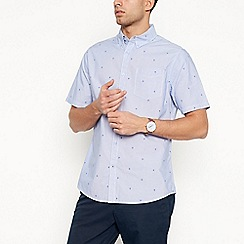 Racing Green - Blue bike print short sleeve tailored fit shirt