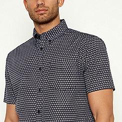 Racing Green - Navy Geometric Short Sleeve Tailored Fit Shirt