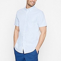 Racing Green - Big and Tall Blue Short Sleeve Regular Fit Oxford Shirt