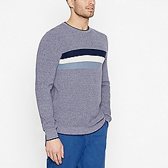 Racing Green - Big and Tall Navy Striped Yoke Cotton Jumper
