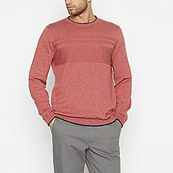 Racing Green - Red Textured Yoke Jumper