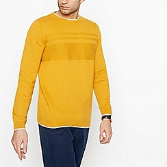Racing Green - Big and tall yellow waffle knit jumper
