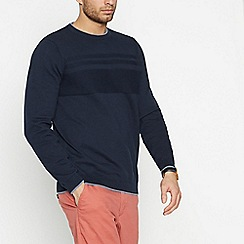 Racing Green - Navy Textured Yoke Jumper