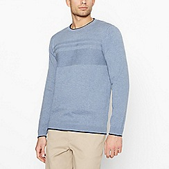 Racing Green - Big and tall light blue textured yoke jumper