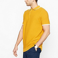Racing Green - Big and tall mustard brick knit polo shirt