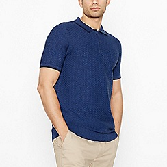 Racing Green - Big and tall blue brick knit polo shirt