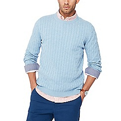 Racing Green - Light blue cable knit jumper