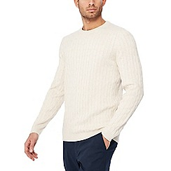 Racing Green - Big and tall natural cable knit jumper