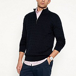 Racing Green - Navy cable knit zip neck jumper