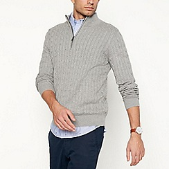 Racing Green - Big and tall grey cable knit zip neck jumper