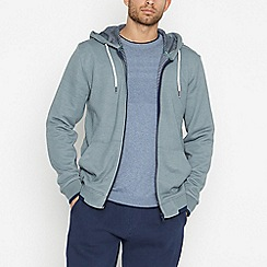 Racing Green - Big and tall pale green zip through hoodie
