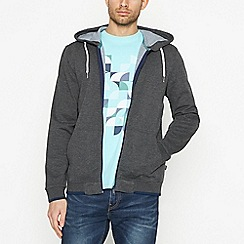 Racing Green - Big and tall dark grey zip through hoodie