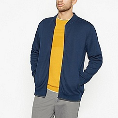 Racing Green - Big and tall navy zip through baseball jacket