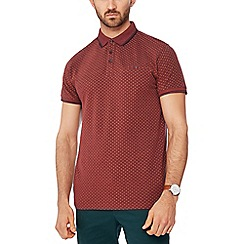 Racing Green - Orange geometric print pique polo shirt