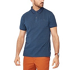 Racing Green - Blue geometric print pique polo shirt