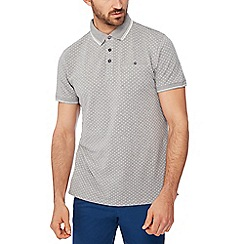 Racing Green - Grey geometric print pique polo shirt