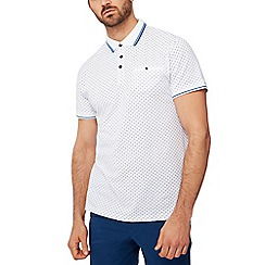 Racing Green - White geometric print pique polo shirt