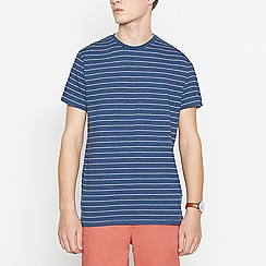 Racing Green - Big and tall navy striped cotton t-shirt