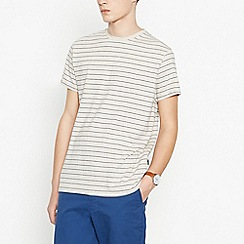 Racing Green - Big and tall natural striped cotton t-shirt