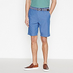 Racing Green - Big and Tall Mid Blue Cotton Oxford Chino Shorts