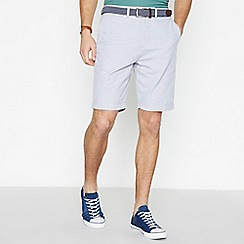 Racing Green - Big and tall light grey cotton Oxford chino shorts