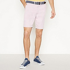 Racing Green - Big and Tall Pink Striped Chino Shorts