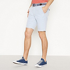 Racing Green - Big and Tall Light Blue Striped Chino Shorts