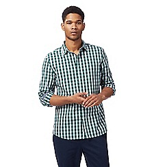 Racing Green - Big and tall green gingham print shirt