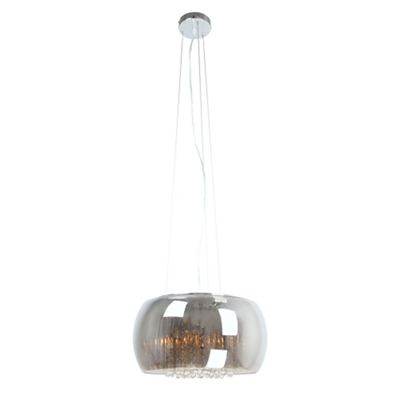 Home collection smoked glass with clear crystal droppers catarina pendant ceiling light debenhams