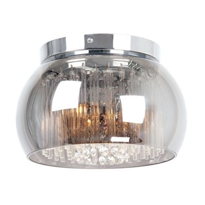 Home collection smoked glass with clear cystal glass droppers catarina flush ceiling light