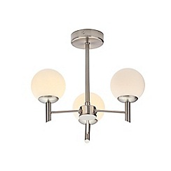Home Collection - Silver Metal and Frosted Glass 'Caden' 3 Light Flush Ceiling Light