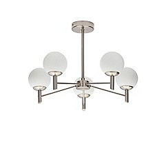 Home Collection - Silver Metal and Frosted Glass 'Caden' 5 Light Flush Ceiling Light