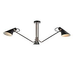 Home Collection - Copper and Black Metal 'Jack' Task Flush Ceiling Light