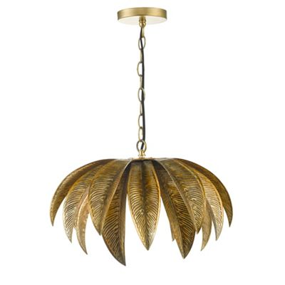 Home collection gold palm leaf cara pendant ceiling light debenhams aloadofball Choice Image