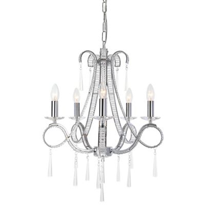 Home collection ella crystal glass chandelier light debenhams