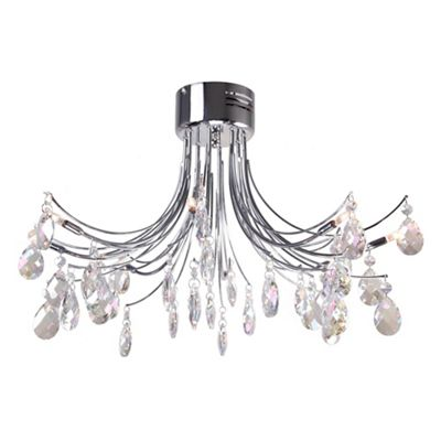 Flush ceiling lights debenhams home collection zoe iridescent crystal glass flush light aloadofball Gallery
