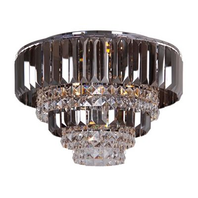 Home collection mila smoked and clear crystal glass flush light