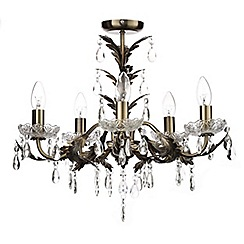 Home Collection - Paisley Antique Brass Metal and Crystal Glass Flush Light