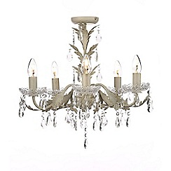 Home Collection - Paisley Cream Metal and Crystal Glass Flush Light
