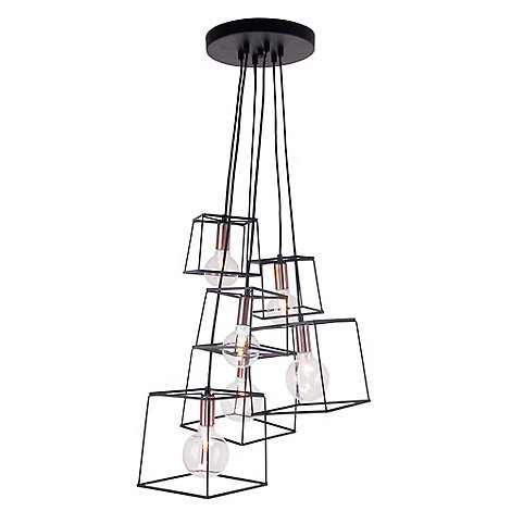Home collection harrison black and copper metal cluster light debenhams