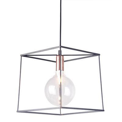 Home collection harrison black and copper metal pendant light debenhams